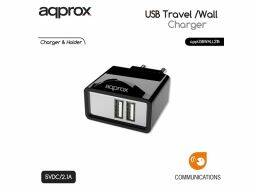 Approx APPUSBWALL21B Double Universal Wall Charger Black