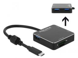 DeLock 3Port USB 3.1 Gen 1 Hub with USB Type-C Connection and SD + Micro SD Slot