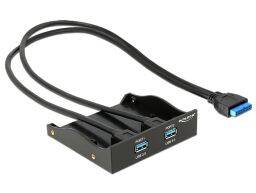 DeLock USB3.0 2-Port with internal 19 pin Frontpanel Black