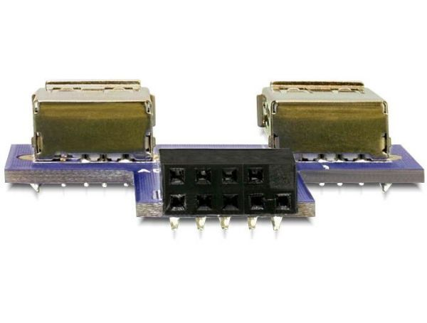DeLock USB pin header female > 2x USB 2.0 female - up