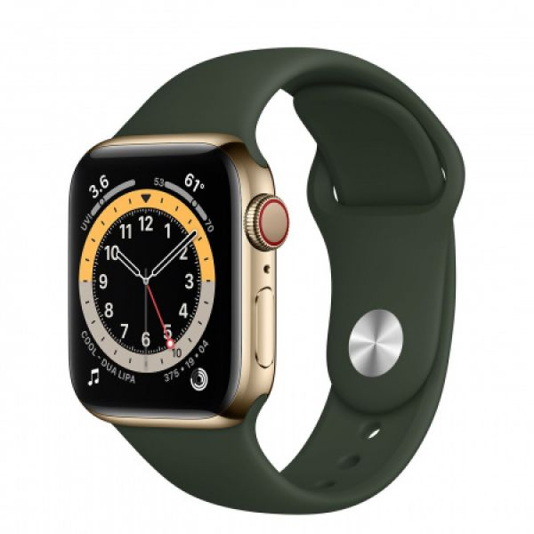 Apple Watch S6 GPS + Cellular, 40mm Gold Stainless Steel Case with Cyprus Green Sport Band (M06V3HC/A)